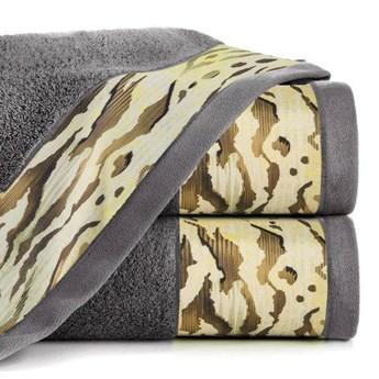 Ręcznik Eva Minge Cecil stalowy w rozmiarze 70x140 z drukowaną bordiurą