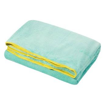 Ręcznik plażowy z mikrofibry niebieski z żółtą lamówką szybkoschnący rozmiar 80x160 idealny na plażę, basen, siłownię