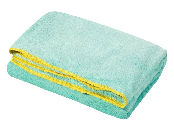 Ręcznik plażowy z mikrofibry niebieski z żółtą lamówką szybkoschnący rozmiar 80x160 idealny na plażę, basen, siłownię Ręcznik kąpielowy Ręcznik z kapturkiem 80x160 cm Kolor Żółty Kategoria Ręczniki