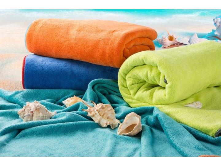 Ręcznik plażowy z mikrofibry niebieski z żółtą lamówką szybkoschnący rozmiar 80x160 idealny na plażę, basen, siłownię Ręcznik kąpielowy 80x160 cm Kolor Żółty Ręcznik z kapturkiem Kategoria Ręczniki