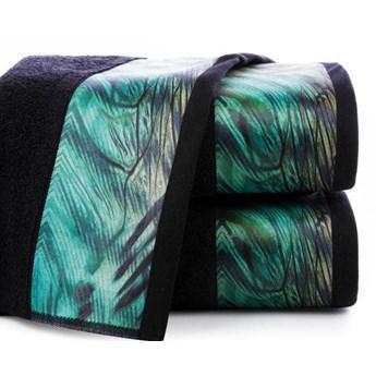 Ręcznik Eva Minge Collin czarny w rozmiarze 50x90 z drukowaną bordiurą