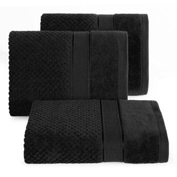 Ręcznik kąpielowy czarny 50x90 frotte 500g/m2 elegancki z welurową bordiurą, Jessi