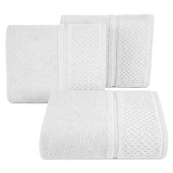 Ręcznik kąpielowy biały 50x90 frotte 550g/m2 elegancki z welurową bordiurą, Ibiza