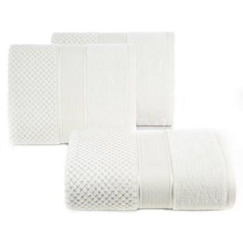 Ręcznik kąpielowy kremowy 50x90 frotte 500g/m2 elegancki z welurową bordiurą, Jessi