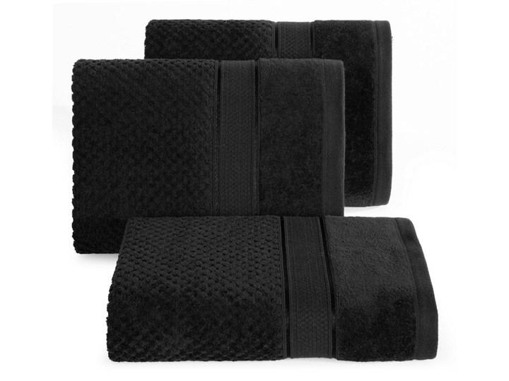 Ręcznik kąpielowy czarny 70x140 frotte 500g/m2 elegancki z welurową bordiurą, Jessi 70x140 cm Bawełna Kategoria Ręczniki