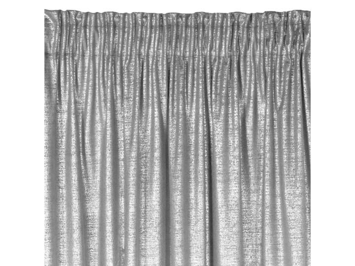 Zasłona gotowa welwet 140x270 Ambi srebrna ze srebrnym nadrukiem na taśmie marszczącej, zaciemniająca Typ Zasłony gotowe Zasłona zaciemniająca Poliester 140x270 cm Mocowanie Taśma