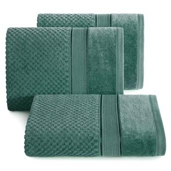 Ręcznik kąpielowy ciemno zielony 70x140 frotte 500g/m2 elegancki z welurową bordiurą, Jessi