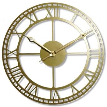Złoty metalowy zegar ścienny retro 50cm