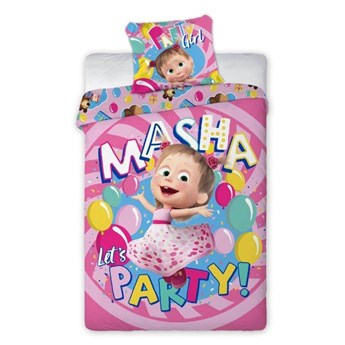 Bawełniana pościel różowa 160x200 dla dzieci bajka Masza i Niedźwiedź balony dwustronna