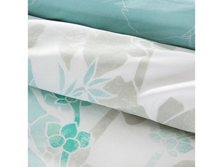 Pościel satyna bawełniana biało niebieska 220x200 kwiaty, komplet pościeli dla dwóch osób 200x220 cm Bawełna Pomieszczenie Pościel do sypialni Kolor Biały