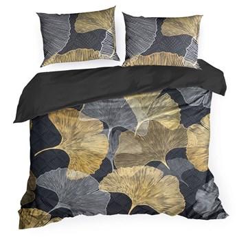 Pościel 160x200 bawełna hiszpańska czarna złota z nadrukiem liści miłorzębu, premium