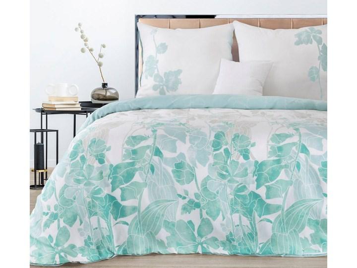 Pościel satyna bawełniana biało niebieska 220x200 kwiaty, komplet pościeli dla dwóch osób Pomieszczenie Pościel do sypialni 200x220 cm Bawełna Kolor Biały