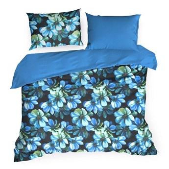 Pościel 160x200 bawełniana niebieska kwiaty, komplet pościeli dla dwóch osób