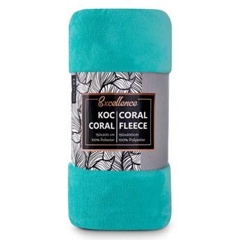 Turkusowy koc dla dorosłych i dzieci 150x200 z puszystej tkaniny Coral, miękki i przyjemny w dotyku