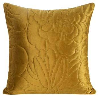Poszewka na poduszkę musztardowa w rozmiarze 40x40 z miękkiej tkaniny velvet pikowana wzór kwiatowy