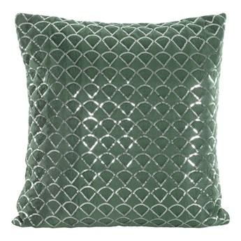 Poszewka na poduszkę ciemno zielona zdobiona haftem i cekinami w rozmiarze 45x45 z miękkiej tkaniny velvet