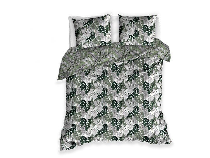 Pościel 220x200 bawełniana biało szaro zielona w liście dwustronna