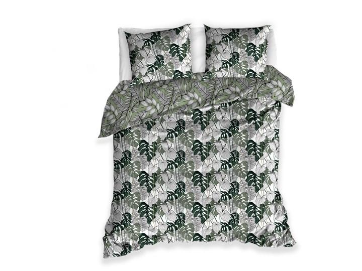 Pościel 220x200 bawełniana biało szaro zielona w liście dwustronna 200x220 cm Kolor Zielony Bawełna Pomieszczenie Pościel do sypialni