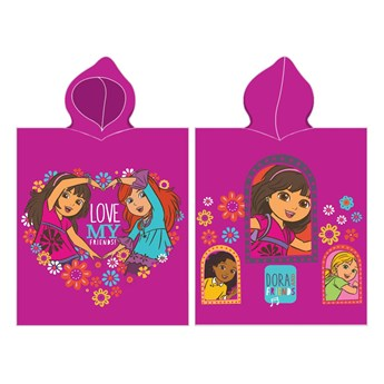 Ręcznik plażowy z kapturem różowe Poncho 50x115 - 100% bawełna, Dora poznaje świat