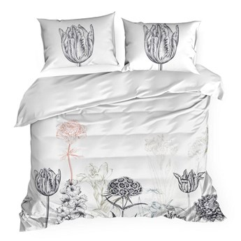 Pościel 220x200 bawełna hiszpańska biała szara  z roślinnym nadrukiem, premium