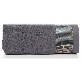 Ręcznik Eva Minge Carla stalowy w rozmiarze 50x90 z drukowaną bordiurą
