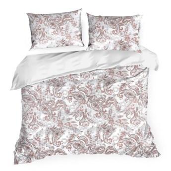 Pościel satyna bawełniana biało różowa 220x200 kwiaty, komplet pościeli dla dwóch osób