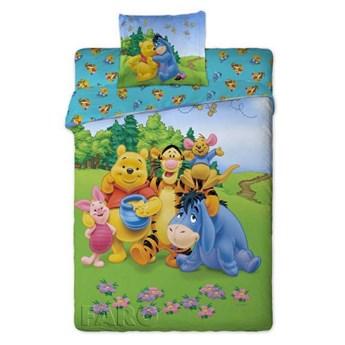 Bawełniana pościel dziecięca młodzieżowa zielona 160x200 dla dzieci bajka Kubuś Puchatek dwustronna