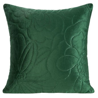 Poszewka na poduszkę ciemno zielona w rozmiarze 40x40 z miękkiej tkaniny velvet pikowana wzór kwiatowy
