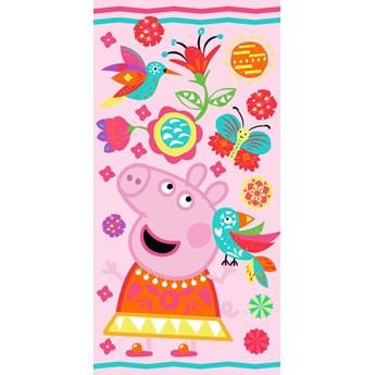 Ręcznik plażowy różowy 70x140 - 100% bawełna świnka peppa