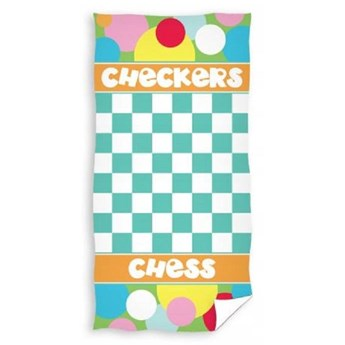 Ręcznik plażowy niebiesko biały 70x140 - 100% bawełna, szachownica, warcaby, szachy