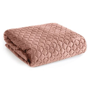 Narzuta welwet na łóżko pudrowa 220x240, pikowana, przeszywana