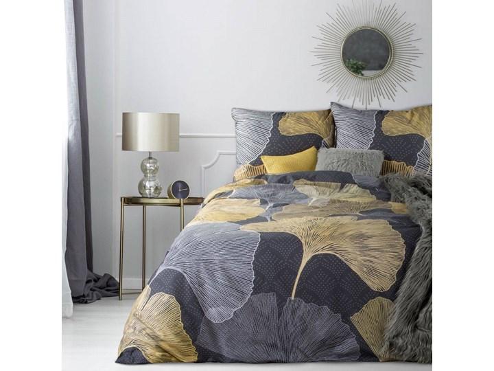 Pościel 160x200 bawełna hiszpańska czarna złota z nadrukiem liści miłorzębu, premium 160x200 cm Satyna Kolor Czarny
