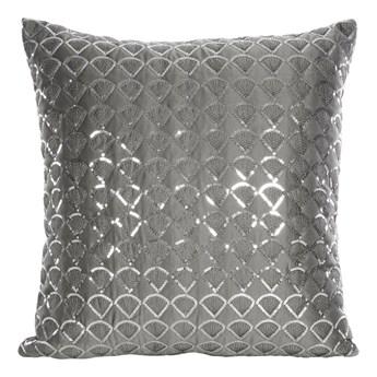 Poszewka na poduszkę grafitowa zdobiona haftem i cekinami w rozmiarze 45x45 z miękkiej tkaniny velvet