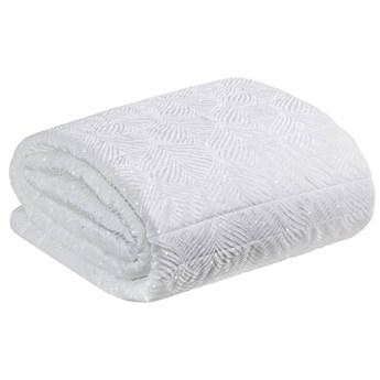Narzuta welwet na łóżko wytłaczana zdobiona brokatem 170x210 biała