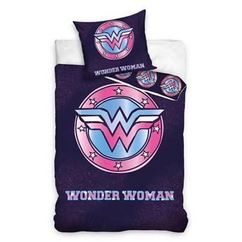 Bawełniana pościel dziecięca młodzieżowa granatowa 140x200 Wonder Woman dwustronna