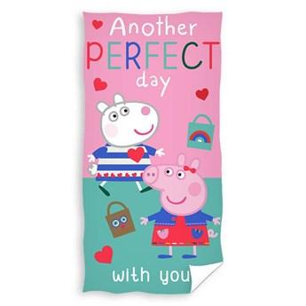 Ręcznik plażowy różowy turkusowy 70x140 - 100% bawełna świnka peppa i owca