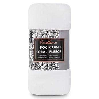 Biały koc dla dorosłych i dzieci 150x200 z puszystej tkaniny Coral, miękki i przyjemny w dotyku