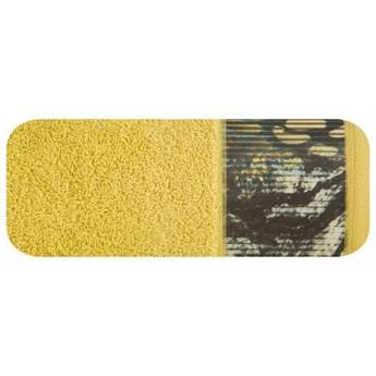 Ręcznik Eva Minge Carla musztardowy w rozmiarze 50x90 z drukowaną bordiurą