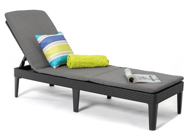 Leżanka basenowa leżak JAIPUR z poduszką - grafit Z regulowanym oparciem Leżanki Tworzywo sztuczne Kategoria Leżaki ogrodowe