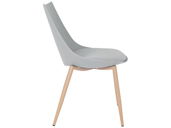Krzesło z poduszką do kuchni jadalni SARA - szare Metal Skóra Stal Drewno Tworzywo sztuczne Krzesło inspirowane Kategoria Krzesła kuchenne
