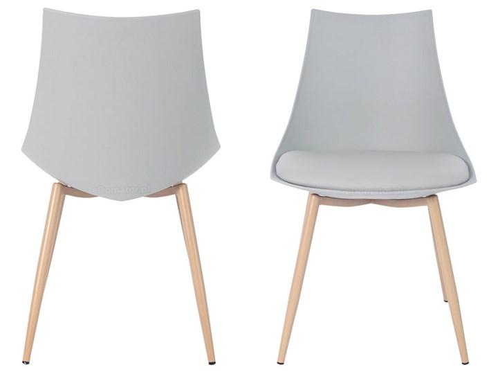 Krzesło z poduszką do kuchni jadalni SARA - szare Metal Styl Nowoczesny Drewno Skóra Krzesło inspirowane Stal Tworzywo sztuczne Styl Skandynawski