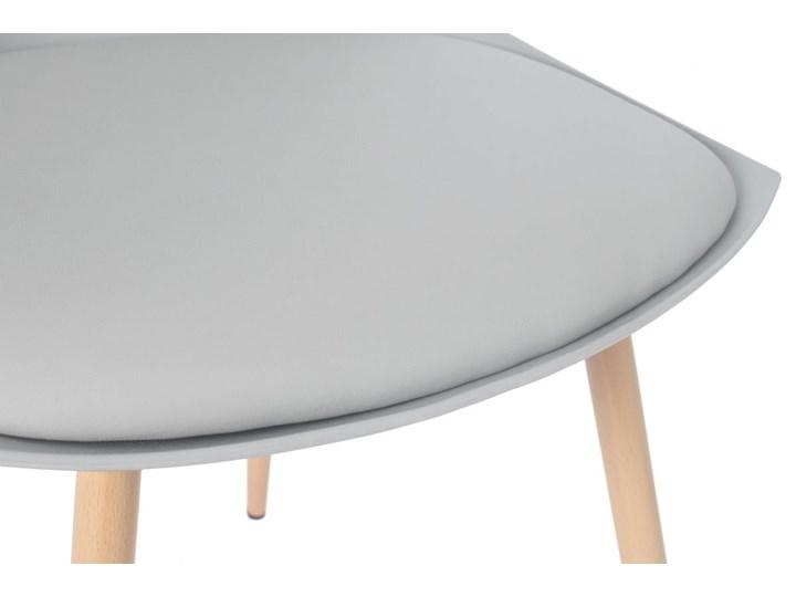 Krzesło z poduszką do kuchni jadalni SARA - szare Tworzywo sztuczne Stal Krzesło inspirowane Drewno Metal Skóra Styl Nowoczesny Styl Skandynawski