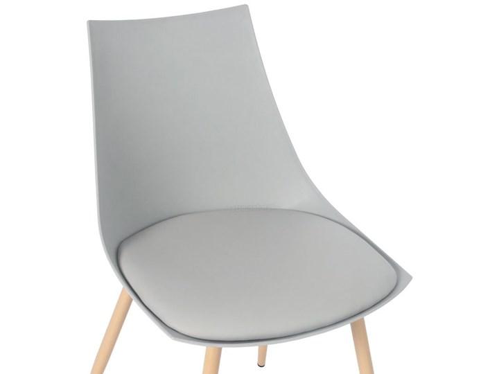 Krzesło z poduszką do kuchni jadalni SARA - szare Metal Krzesło inspirowane Drewno Stal Skóra Styl Skandynawski Tworzywo sztuczne Pomieszczenie Jadalnia