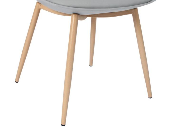 Krzesło z poduszką do kuchni jadalni SARA - szare Stal Skóra Metal Tworzywo sztuczne Drewno Krzesło inspirowane Pomieszczenie Salon
