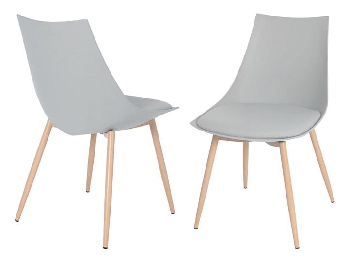 Krzesło z poduszką do kuchni jadalni SARA - szare Metal Stal Tworzywo sztuczne Skóra Styl Skandynawski Krzesło inspirowane Drewno Kategoria Krzesła kuchenne