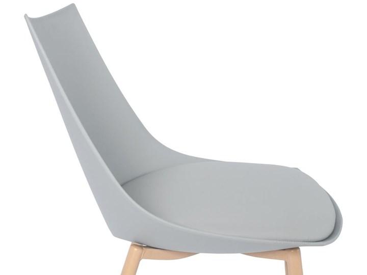 Krzesło z poduszką do kuchni jadalni SARA - szare Krzesło inspirowane Drewno Metal Pomieszczenie Jadalnia Skóra Tworzywo sztuczne Stal Styl Skandynawski