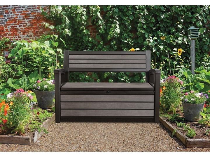 Ławka ogrodowa ze skrzynią HUDSON BENCH 227 l - brąz Drewno Tworzywo sztuczne Styl Minimalistyczny