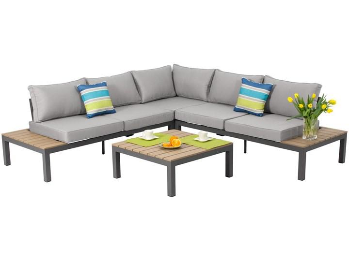Narożnik ogrodowy aluminiowy BALI szaro-brązowy Aluminium Zestawy wypoczynkowe Styl Nowoczesny Zawartość zestawu Sofa