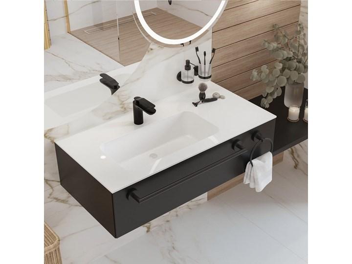 Umywalka blatowa Massi ENO 95 lewa Kategoria Umywalki Szerokość 70 cm Marmur Meblowe Konglomerat Asymetryczne Szerokość 95 cm Kolor Biały
