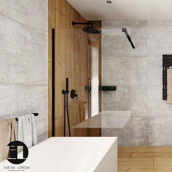 MASSI Ścianka prysznicowa WALK IN FIX BLACK 120